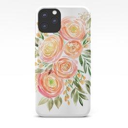 Watercolor ranunculus in rose gold iPhone Case