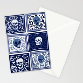 Delft Blue Skulls with Vines Stationery Cards