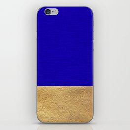 Color Blocked Gold & Cerulean iPhone Skin