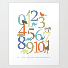 Animal Numbers -  Safari colorway Art Print