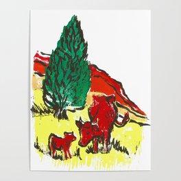 Big moo, wee moo (colored version) Poster