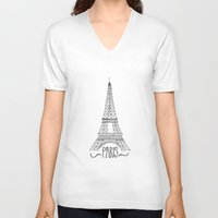 eiffel tower V-neck T-shirts featuring Eiffel Tower by Stacey Walker Oldham