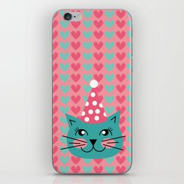 Cat Party hat iPhone Skin