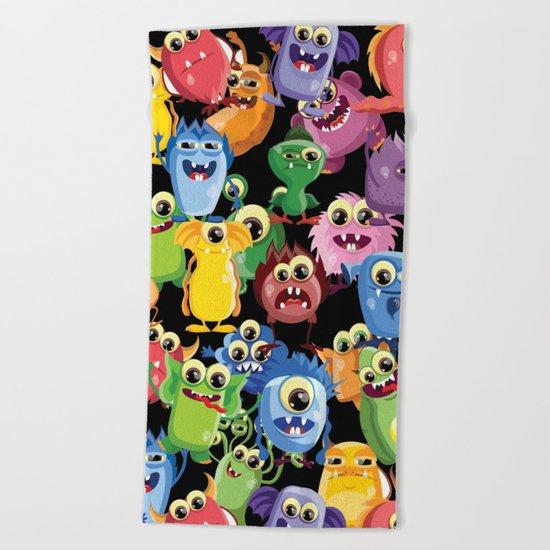 cute monsters Beach Towel