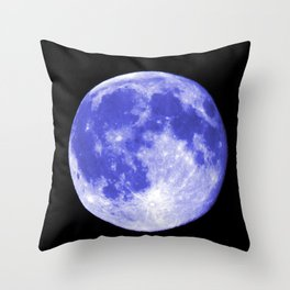 Blue Moon looks like Earth Throw Pillow