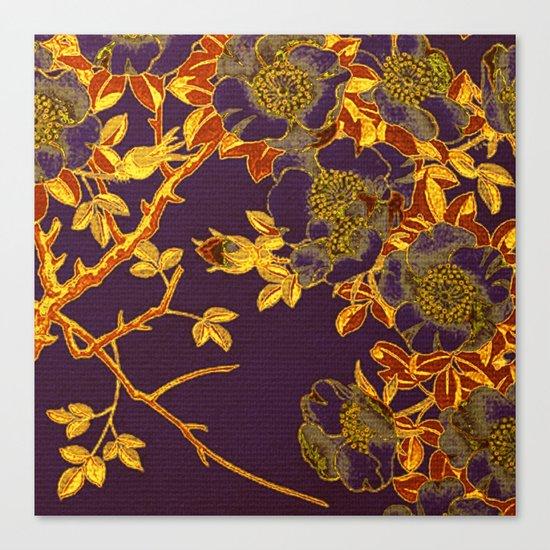 rich floral on purple Canvas Print