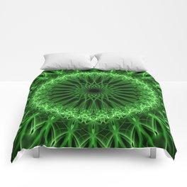 Glowing green mandala Comforters