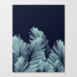Navy Blue Banana Leaves Dream #1 #tropical #decor #art #society6 Canvas Print