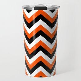 Orange Black and White Chevrons Travel Mug