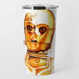 C3 PO Droid Star Space Watercolor Paint Rebel Travel Mug