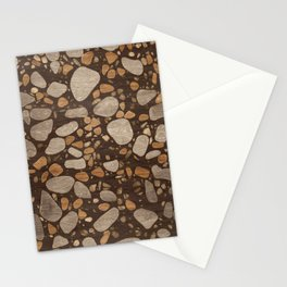 Terrazzo - Mosaic - Wooden texture and gold #3 Stationery Cards