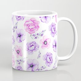 Modern hand painted purple pink watercolor floral pattern Coffee Mug