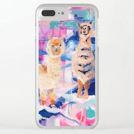 Puffy Dreams (alpaca and llama) Clear iPhone Case