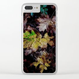 Autumn Patchwork, Maple Leaves Clear iPhone Case