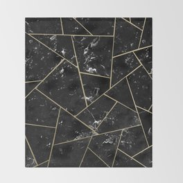 Black Marble Gold Geometric Glam #1 #geo #decor #art #society6 Throw Blanket