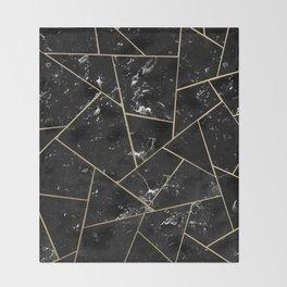 Black Marble Gold Geometric Glam #1 #geo #decor #art #society6 Throw Blanket