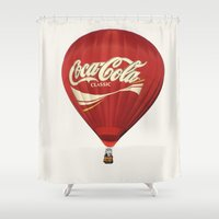 coca cola Shower Curtains featuring Coca-Cola Hot Air Balloon by The Zachary Bee