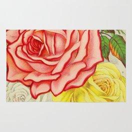 Vintage Multi Colored Rose Illustration (1886) Rug