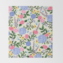 French Country Garden Print Throw Blanket