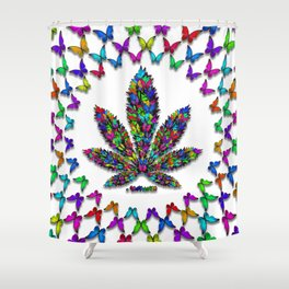 Butterflies Cannabis Leaf 2 Shower Curtain