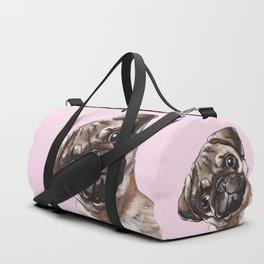 Sneaky Melancholic Pug in Pink Duffle Bag