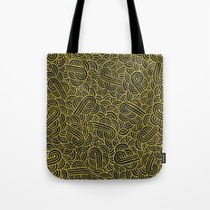 Black and faux gold swirls doodles Tote Bag