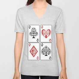 Ace cards pattern Unisex V-Neck
