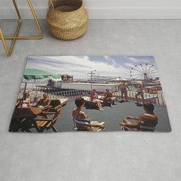 Kings Inn Hotel Sundeck on the Wildwood Boardwalk and Amusement Pier. 1960's retro photograph. Rug