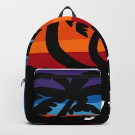 Cayman Islands Beach Sunset Caribbean Palm Trees Surfing Surf  Backpack