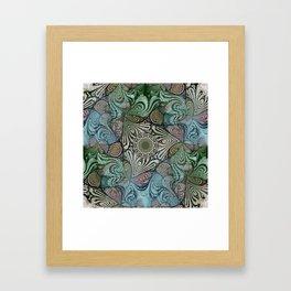 Labyrinth Mandala Blue Green Grey Framed Art Print