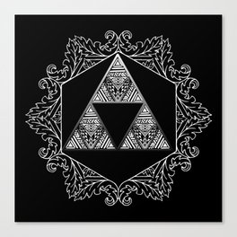 Triforce Aztec White Pattern Canvas Print