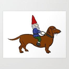 Gnome Riding a Dachshund Art Print