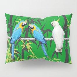 Kakadu - Macaw Bamboo Rope Jungle green Pillow Sham