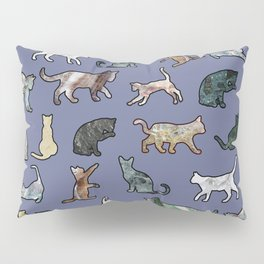 Cats shaped Marble - Violet Blue Pillow Sham