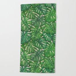 ROSE QUARTZ MONSTERA, by Frank-Joseph Beach Towel