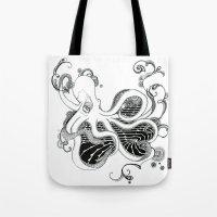 kraken Tote Bags featuring 'Kraken' by emily sams