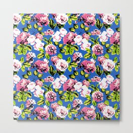 Honolulu Floral - Blue Metal Print