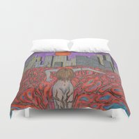 sin city Duvet Covers featuring Sin Beneath the City by Labartwurx