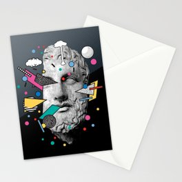 """""""Thoughtless"""" Inner Thoughts Statue Memphis Vapour Wave Stationery Cards"""