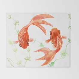Koi Fish, Feng Shui, Goldfish art, Two fish, Throw Blanket