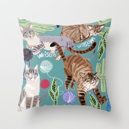 Whiskers and Yarn cadet blue Throw Pillow
