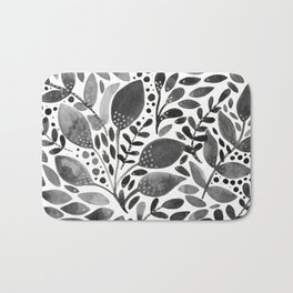 Watercolor leaves - black and white Bath Mat