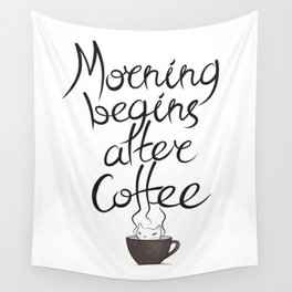 Morning Coffee Cat Wall Tapestry