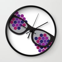 glasses Wall Clocks featuring Glasses by Laura Stiner