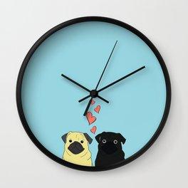 Pugs In Love Blue Wall Clock