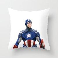 captain silva Throw Pillows featuring Captain by Carrillo Art Studio