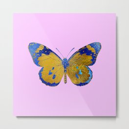 Gold And Blue Painted Butterfly Elegant Art Metal Print
