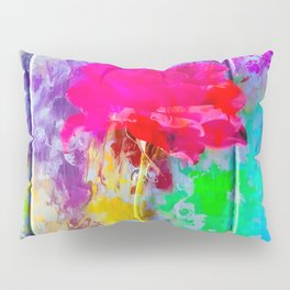 red rose with pink purple blue green yellow painting abstract background Pillow Sham