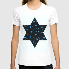 Bright Blue  Stars in Space T-shirt
