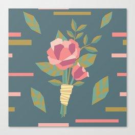Geometric Wedding Rose Floral Boutonniere Canvas Print